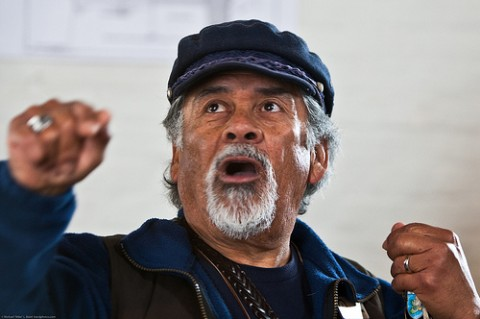 Photogenic Able Martinez Volunteer Docent Guide - loves his work and it shows.  Piedras Blancas Lightstation Lighthouse, San Simeon, CA.  Public tour 18 Feb 2009.  Led by docent volunteers Able and Toni Martinez (abellighthouse {at] charter d o t net.  Photo by Michael