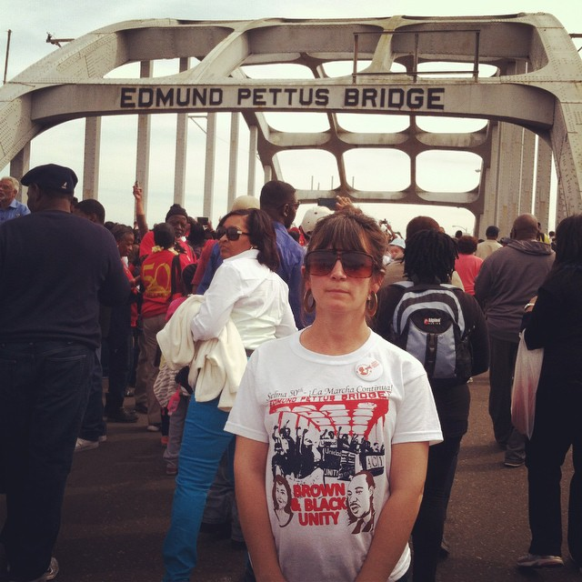 Jen Willsea at the Edmund Pettus Bridge for the 50th anniversary of Bloody Sunday in Selma, Alabama. March 2015.